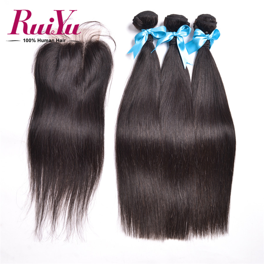 altMalaysian Straight Hair With Closure 3 Bundles Malaysian Virgin Hair With Closure 8-28 Cheap Straight Human Hair With Closure