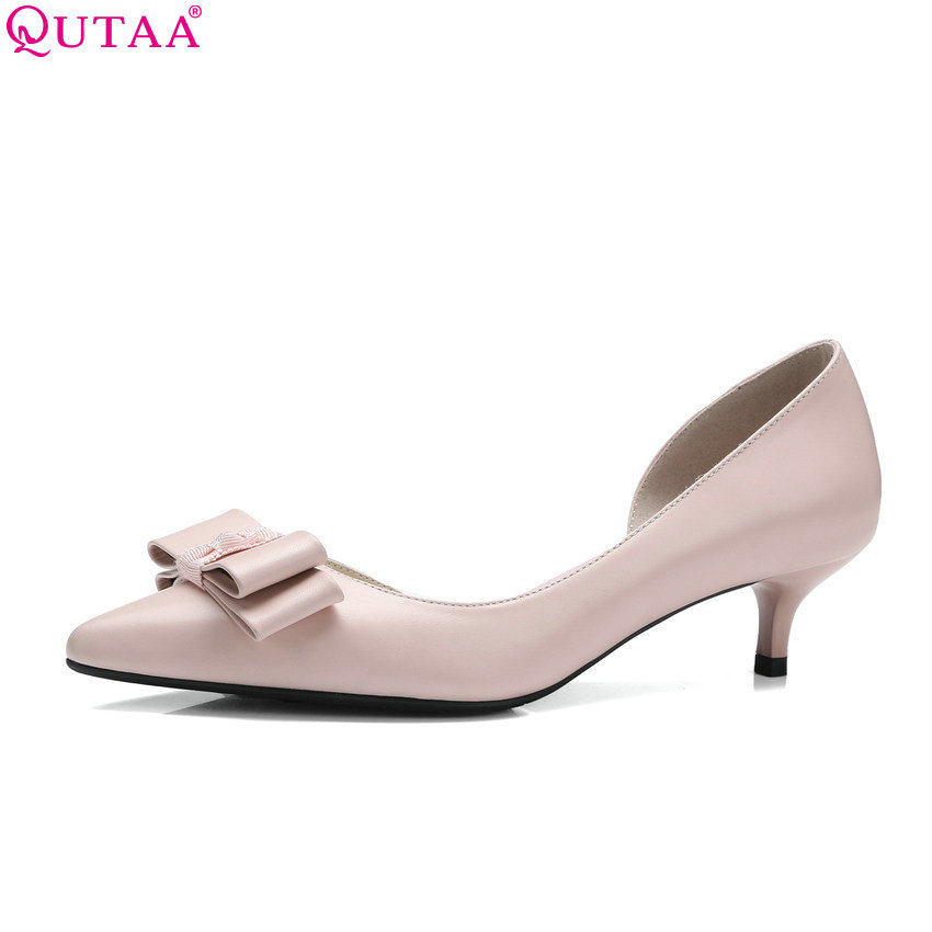 QUTAA 2018 Women Pumps Fashion Genuine Leather +pu Thin High Heel Soes Pointed Toe Slip on Leisure Ladies Pumps Szie 34-41<br>
