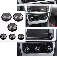 BBQ@FUKA R Switch Badge Emblem Decal Resin Car styling Sticker Fit For VW MK7 GOLF 7 Stereo Radio Button Set of 6 Accessories(China)