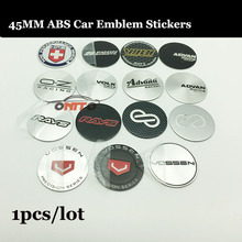 1PCS/LOT New 2018 Car Styling accessories 45mm logo Car Wheel hub Sticker Auto Wheel Center Label Emblem Badge standard Decals(China)