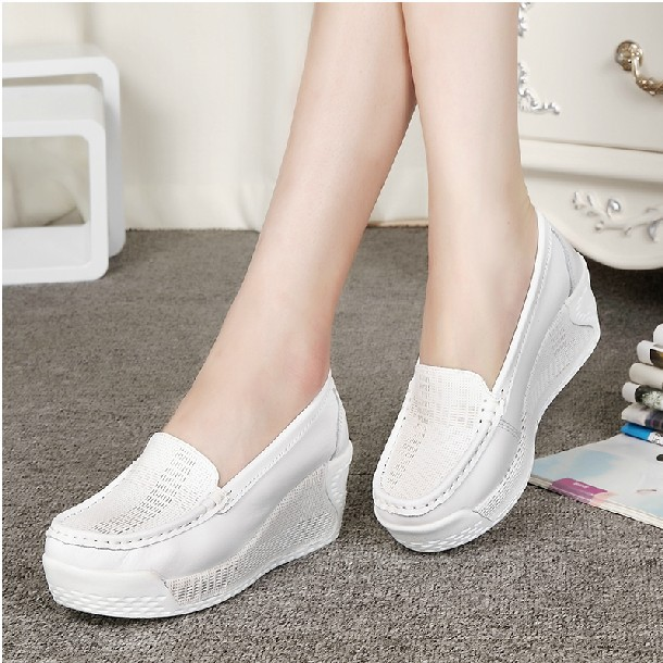 Womens Genuine Leather Shoes Lady Casual white  Wedges Fashion Womans shoeS breathable single nurse thick bottom Platform<br><br>Aliexpress
