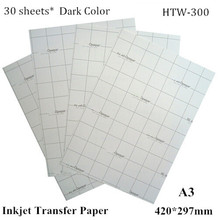 (A3*30pcs) Dark Iron on Inkjet Heat Transfer Paper A3 For Clothes Thermal Transfer Papel For Dark and Light Fabric HTW-300 Free(China)