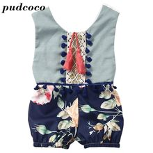 INS HOTSALE Summer Toddler Girls Jumpsuits Bohemian Floral Print Newborn Baby Rompers Tassel Lace Infant Kids Overalls 0-4years(China)