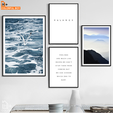 COLORFULBOY Canvas Painting Nordic Ocean Mountain Life Quotes Wall Art Print Canvas Poster Wall Pictures For Living Room Decor(China)