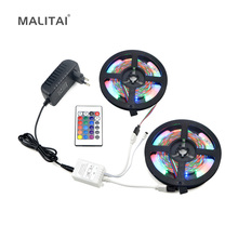 Full Set RGB LED Strip light 2835 (3528) 5M 10M Waterproof LED lighting Ribbon 300 LEDs Tape With IR Controller DC12V 3A Adapter
