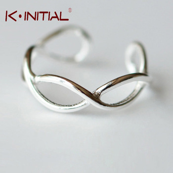 Kinitial 1Pcs New 925 Sterling Silver Fish Rings Open Cross Wave Ring For Girl Women wedding Gift Jewelry Drop Shipping Bijoux