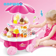 Simulation Light Music Mini Supermarket Toy Ice Cream Trolley Dolls Furniture Set Children Pretend Play Candy Shop Toy on Wheels