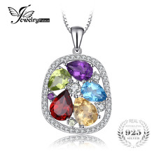 JewelryPalace luxury 4.5ct Genuine Amethyst Garnet Peridot Blue Topaz Pendant 925 Sterling Silver Jewelry Not Include A Chain(China)
