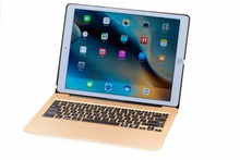 Ultrathin Metel Wireless Bluetooth Keyboard + 7 color Backlit Smart Case Stand For iPad mini 4 7.9 Tablet PC+Webcam Cover+Stylus