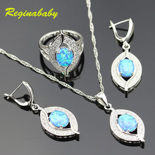 Alluring 925 Logo Australia Blue Opal Jewelry Set For Women Silver White Crystal Rings/Earrings/Necklace/Pendant(China)