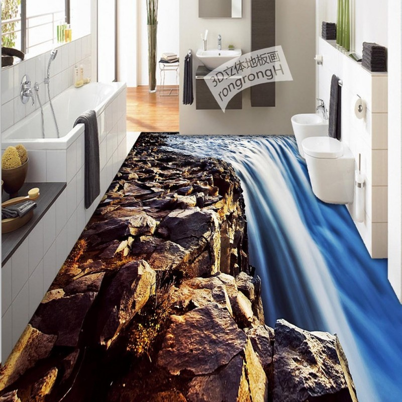 Free Shipping 3D waterfall floor painting thickened waterproof bedroom living room study lobby bedroom restaurant flooring mural<br>