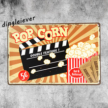 POP corn Film vintage Metal Sign Restaurant decorations coffee signs for wall Dessert shop decor