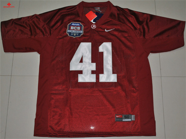 Free Shipping Nike Alabama Crimson Tide AJ McCarron 10 White 2012 BCS Patch College Boxing Jersey Courtney Upshaw 41(China)