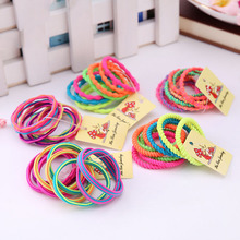 10PCS/Lot Hot Sale Girls Colorful Elastic Hair Band Lovely Kids Children Hair Ropes Hair Accessories Random Color(China)