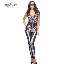 SEBOWEL Sexy Halloween Catsuit Pant Adult Womens Sugar Skull Fancy Cosplay Womens Catsuit Costumes Night Club Macacao Feminino