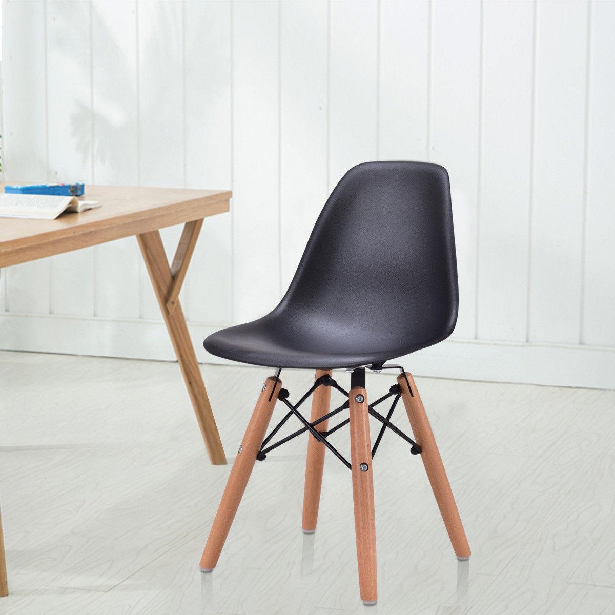 Giantex Modern Kids Dining Chair Children Side Armless Chair Molded Plastic Seat Wood Legs Children Furniture HW56499BK<br>