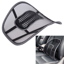 BUH9 Black Mesh Cloth Car Seat Cushion Lumbar Waist Back Support Lumbar Pillow E#A