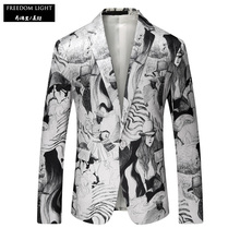 Men's Casual Blazer 2017 Spring And Autumn Blazer Men Fashion Pattern Print White Blazers Size M-4XL Free Shipping(China)
