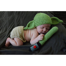 New Arrival Star Wars Master YODA Style Knitted Baby Beanies and Diaper Covered Pants Newborn Christmas Gifts Photo Props