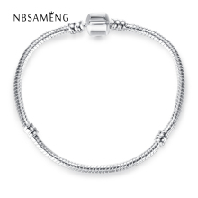 New Silver Plated Bracelet Snake Chain Basic Lobster Clasp Bracelets bangle Fit Women Charm Bead DIY Jewelry NSL0002