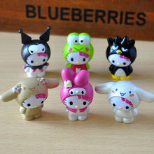 6pcs/lot 5cm Hello Kitty Toys Dolls KT Action Figures Toys Cartoon Anime PVC Toys for Kids Gifts