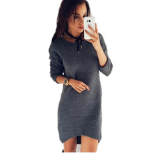 Winter Knitted Dress For Womens Tunic Pencil Full Sleeve Mini Dresses Casual Basic Work Dress Vestidos WS3757Z