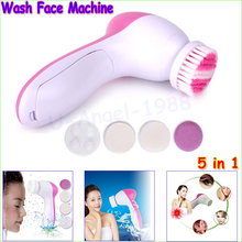 Wholesale 1pcs 5 in 1 Electric Wash Face Machine Facial Pore Cleaner Body Cleaning Massage Mini Skin Beauty Massager Brush(China)