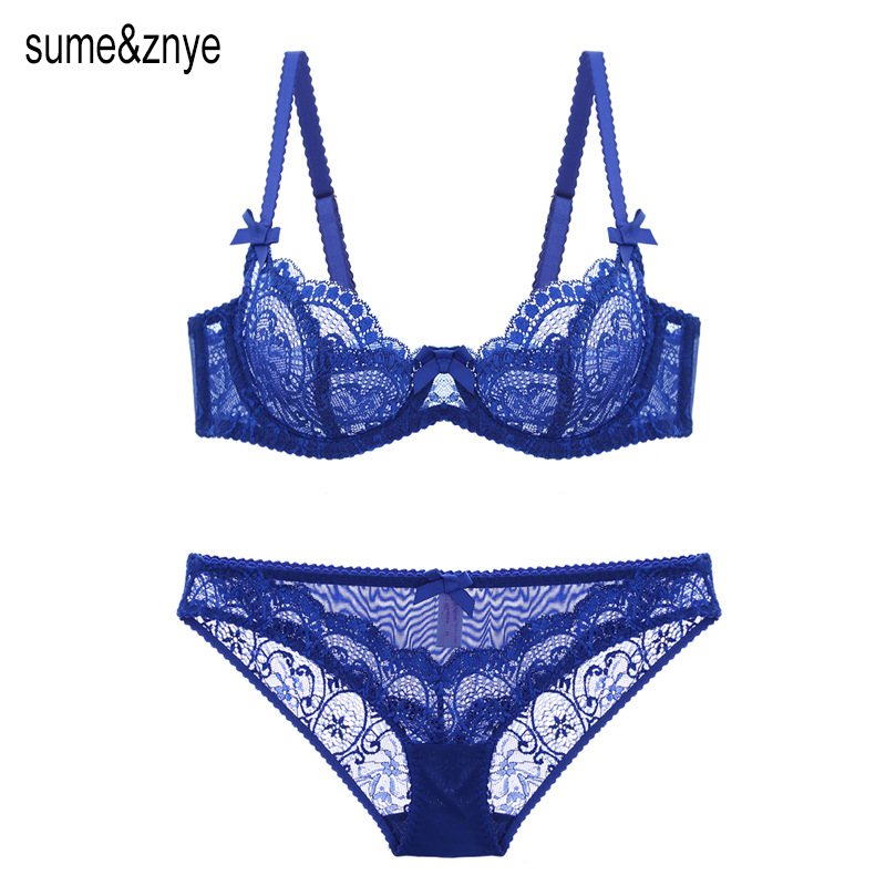 European Sexy Lace women Push Up Bra Sets transparent Bra And Panty French Romantic Intimate Underwear Set temptation girl bra()