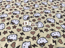155cm Width Beige Background Hello Kitty Knitted Cotton Fabric for Baby Girl Clothes Sewing Patchwork DIY-AFCK265