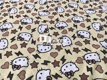 155cm Width Beige Background Hello Kitty Knitted Cotton Fabric for Baby Girl Clothes Sewing Patchwork DIY-AFCK265(China)