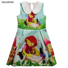 SAILEROAD Cartoon Sesame Street Elmo Julia Kids Drees Costume Baby Kids Girl's Double Print Cartoon Sleeveless Dress 3-9Years