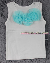 Baby girls pettitop light blue flowers kids girls cotton singlet white