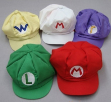 Free shipping hot sale Super Mario Bros Hat cosplay for children Baseball Caps Mario Luigi Wario Waluigi 5 styles
