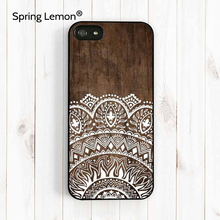 Spring Lemon Imitation Wood Lace Ethnic Patterns Cell Phone Hard Case Cover For iPhone 4/4s/5/5s/5c/6/6s/6plus/6s plus/7/7 plus