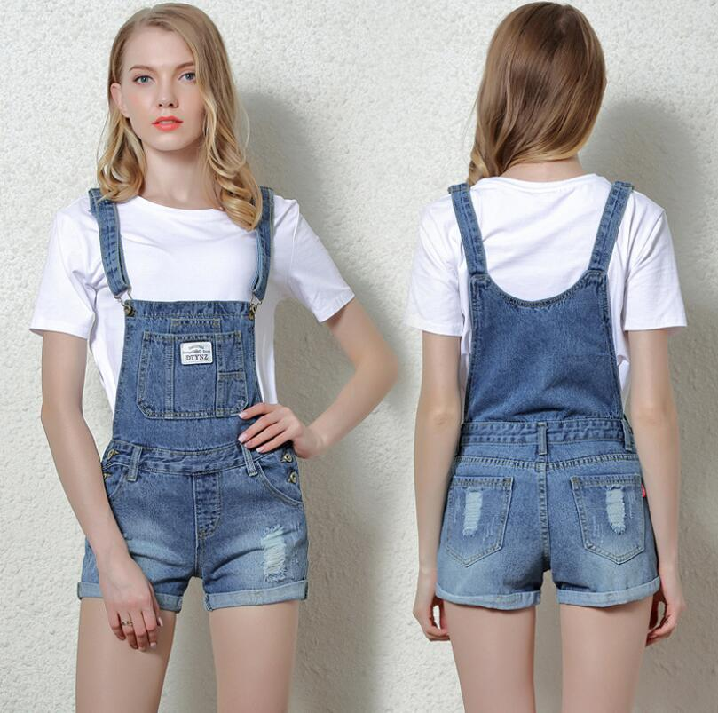 2019 New Summer Jeans Overalls Short Denim Jumpsuit Rompers For Women Casual Shorts Playsuits Slim Dungarees Femme w449