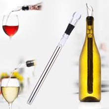 High Quality Stainless Steel Wine Cooler Chiller Cooling Chilling Stick with Pourer Kitchen Bar Wine Accessories Tool(China)