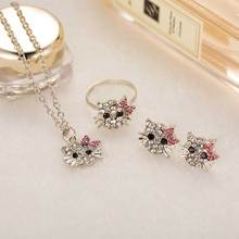 TOMTOSH New Crystal Cat Stud Earrings Rhinestone Hello Kitty Earrings Bowknot Jewelry For Girls Ring,Earring and Necklace Set