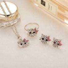 KISS WIFE New Crystal Cat Stud Earrings Rhinestone Hello Kitty Earrings Bowknot Jewelry For Girls Ring,Earring and Necklace Set(China)