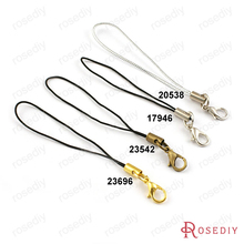 (17946)100PCS Copper Heads and Polyester Rope with Lobster Clasps Mobile Phone Ropes Diy Jewelry Accessories