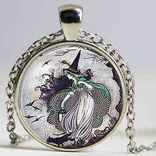 Cute Fairytale Witch Pendant Fairy Tale Witch Necklace Jewelry Handmade Halloween Jewellry Birthday Gift for Woman Children Kids(China)
