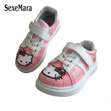New 2017 Cute Cartoon Girls White Shoes Lovely Bowknot Printing Girl Flat Sports Shoes Fashion Hello Kitty Child Shoes A01092