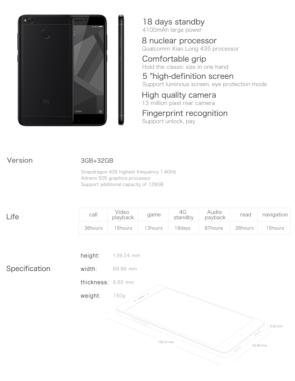 Original Xiaomi Redmi 4X  3GB RAM 32GB ROM Mobile Phone Snapdragon 435 Octa Core 4G LTE 5.0″ HD 4100mAh
