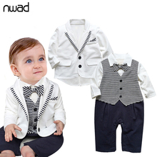 2017 New Brand Baby Boys Clothing Set Gentleman Baby Kids Clothes White Coat+ Striped Rompers Newborn Wedding Suit FF028(China)