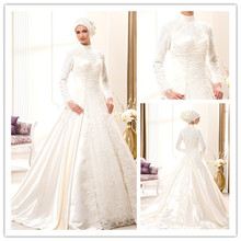 Modern Plus Size Saudi Arabia High Collar Lace Long Sleeve Muslim Wedding Dress Dubai Hijab Muslim Bridal Wedding Gown gelinlik