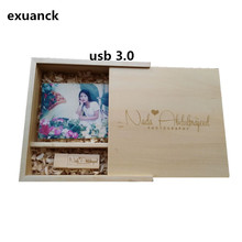 Custom Photo Unique Album Maple/walnut Wood Box USB 3.0 Memory Pendrive Photography Wedding Studio LOGO Gift ( 170*170*35 mm)