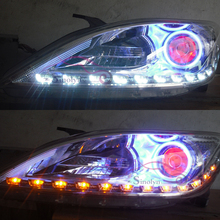 2x White Amber Flexible Switchback Headlight LED Eye Brow Stripe Angel Eye DRL Decorative Light With Turn Light Feature