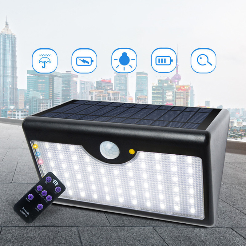 Solar Lamp Remote Street Light Waterproof IP65 5 Modes Courtyard Sense Wall Lights 60 LED Landscape Walkway Outdoor Lighting<br>