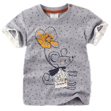 Euro USA UK 2017 New Summer Kids Children boy girl embroidery mouse 100% pure Cotton tshirt t shirt for boys grils 1-6 years