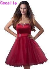 2017 Hot Dark Red Short Homecoming Dresses Sweetheart Beaded Crystals Tulle Knee Length Teens Informal Homecoming Cocktail Gowns