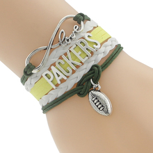 Infinity Love Green Bay Packers Football Team Bracelet Green Gold White Customize Sports friendship Bracelets(China)